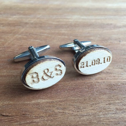 Personalised Oval Laser Engraved Initial Wood Cufflinks