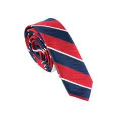 4cm Skinny Navy Red and White Stripe