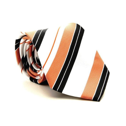 Orange Polyester Striped Tie