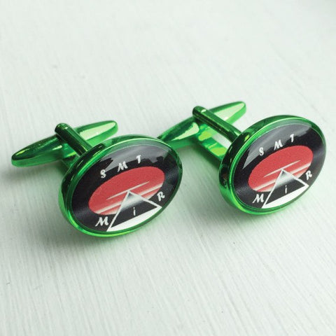 Printed Oval Green Anodised Cufflinks