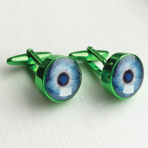 Printed Round Green Anodised Cufflinks