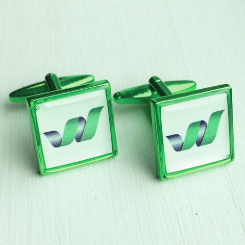 Printed Square Green Anodised Cufflinks