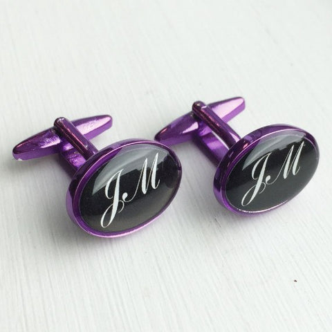 Printed Oval Purple Anodised Cufflinks