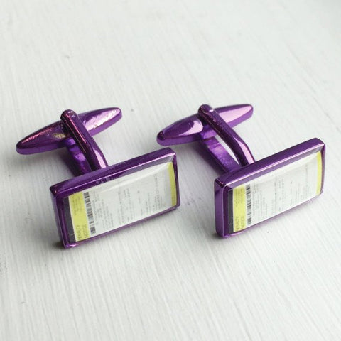 Printed Rectangle Purple Anodised Cufflinks