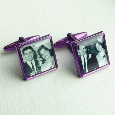 Printed Square Purple Anodised Cufflinks