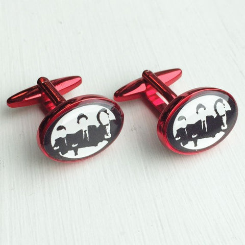 Printed Oval Red Anodised Cufflinks