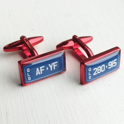 Printed Rectangle Red Anodised Cufflinks