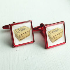 Printed Square Red Anodised Cufflinks