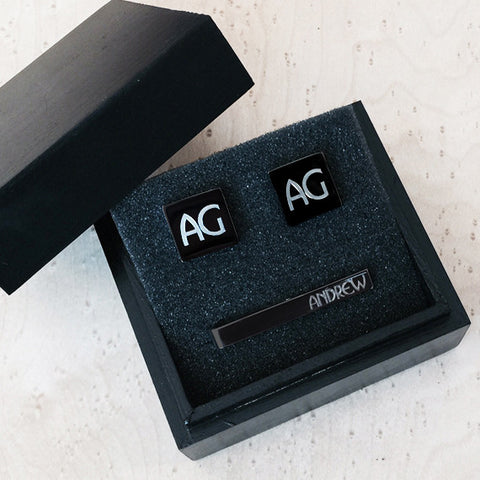 Personalised Square Silver Cufflinks and Tie Bar Gift Set with Black Box
