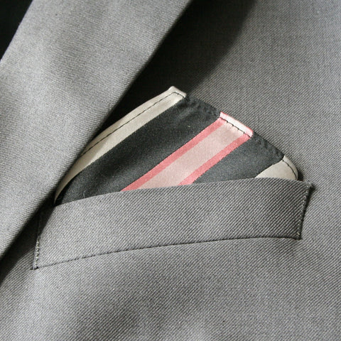 Mini Black, Pink and Silver Stripe Pocket Square