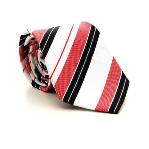 Red Polyester Striped Tie