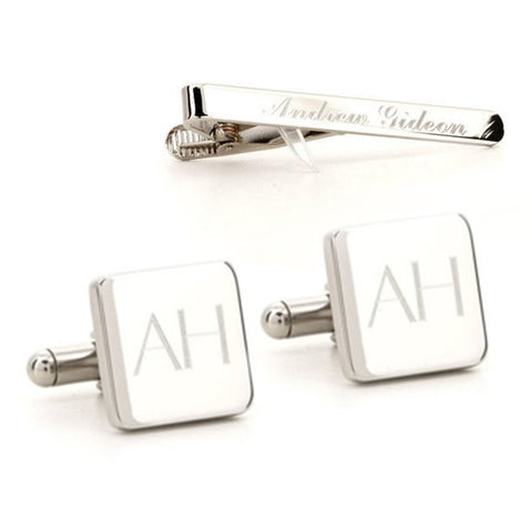 Engraved Square Silver Cufflinks and Tie Bar Set
