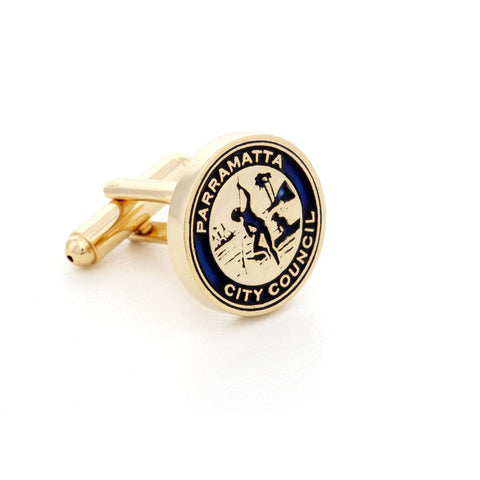 Custom Made Gold Enamel Cufflinks