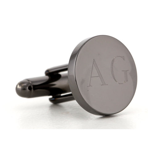 Personalised Engraved Round Gunmetal Cufflinks
