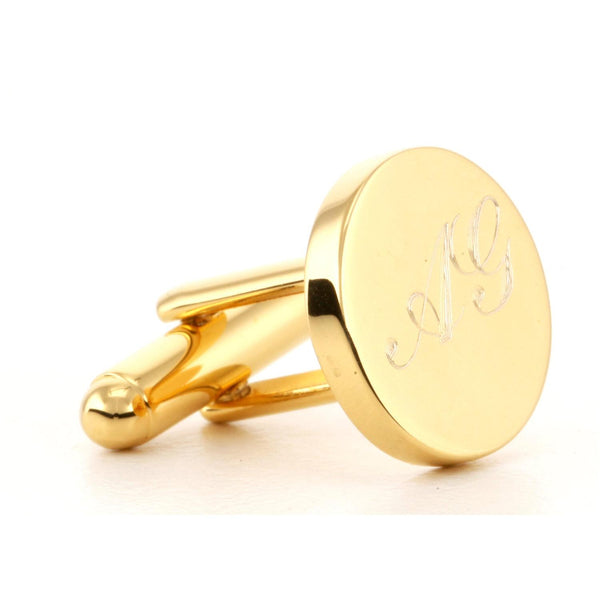 Engraved Logo Round Gold Cufflinks