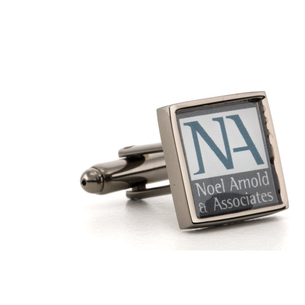 Corporate Printed Square Logo GunMetal Cufflinks