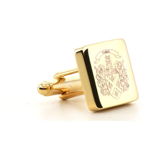 Square Family Crest Logo Cufflinks Gold