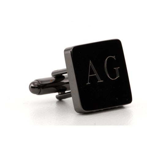 Engraved Logo Square GunMetal Cufflinks