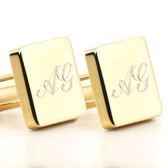 Personalised Engraved Square Gold Cufflinks