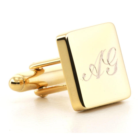 Engraved Logo Square Gold Cufflinks