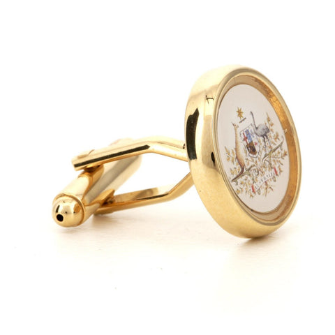 Round Family Printed Crest Cufflinks Gold
