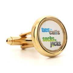 Corporate Printed Round Logo Gold Cufflinks