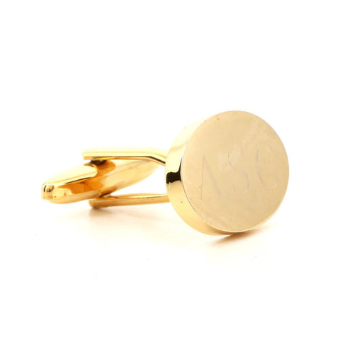 Engraved Oval Gold Cufflinks