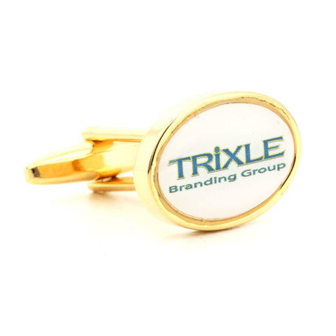 Corporate Printed Oval Logo Gold Cufflinks