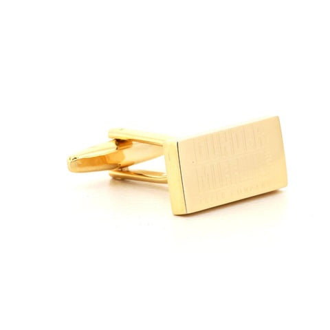Engraved Logo Rectangle Gold Cufflinks