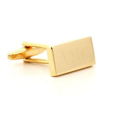 Engraved Rectangle Gold Cufflinks