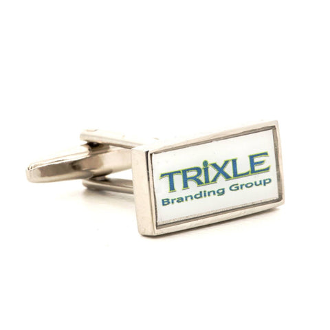 Corporate Printed Rectangle Logo Silver Cufflinks