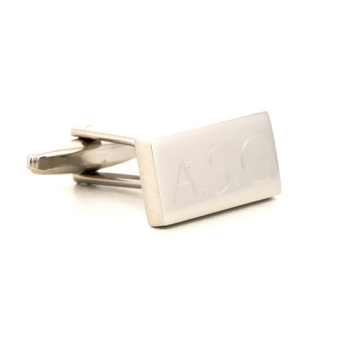 Engraved Rectangle Silver Cufflinks