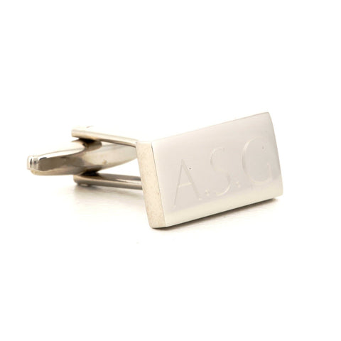 Engraved Logo Rectangle Silver Cufflinks