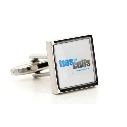 Corporate Printed Square Logo Silver Cufflinks