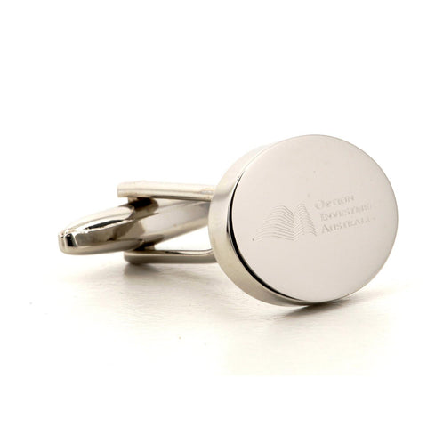 Corporate Oval Logo Silver Cufflinks