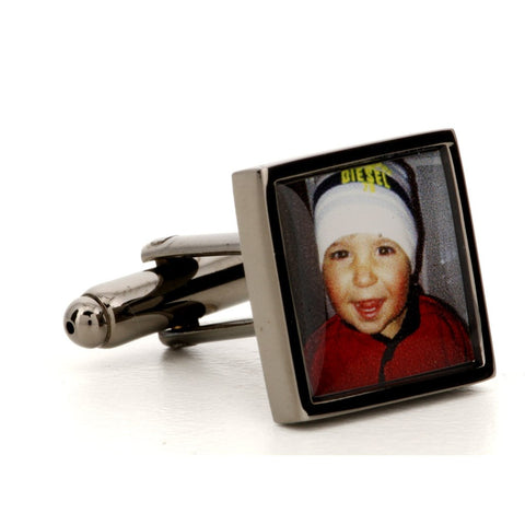 Photograph Cufflinks Gun Metal Square
