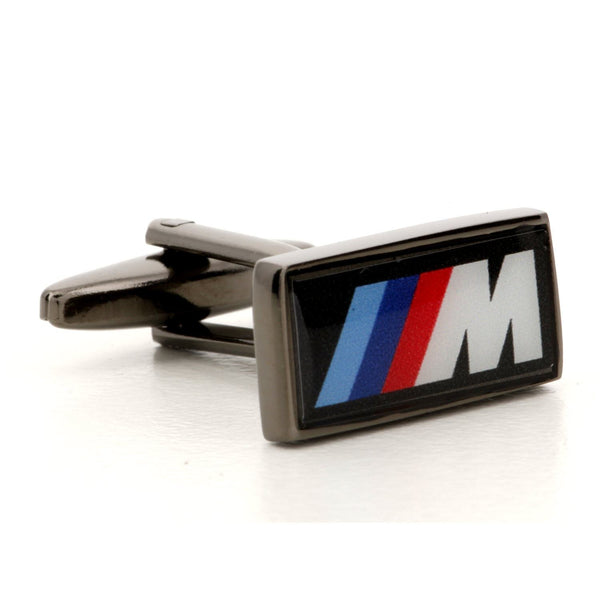 Corporate Printed Rectangle Logo GunMetal Cufflinks