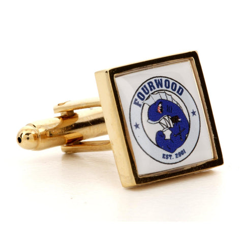 Corporate Printed Square Logo Gold Cufflinks