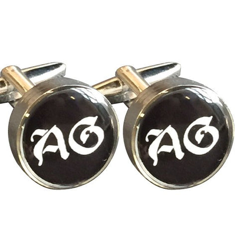 Silver Round Printed Initial Cufflinks