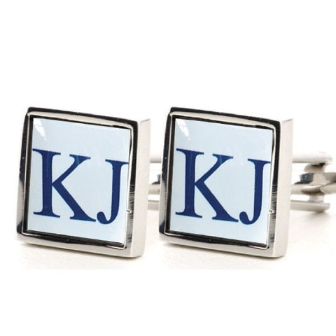 Silver Square Printed Initial Cufflinks