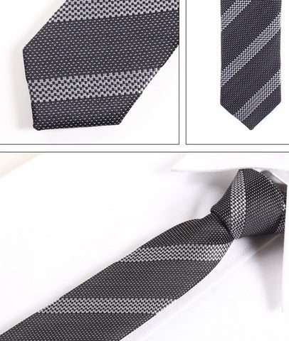 Skinny Black and Silver Striped Patterned Tie