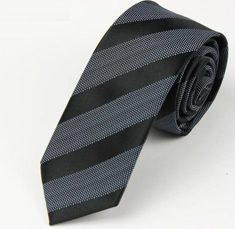 Skinny Black and Charcoal Striped Tie