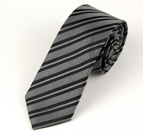 Skinny Black and Silver Striped Tie