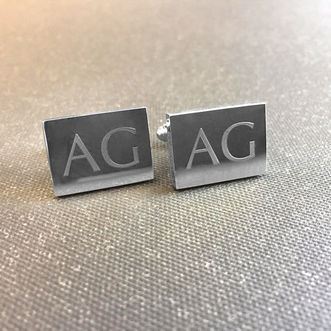 Personalised Engraved Rectangle Shiny Silver Cufflinks