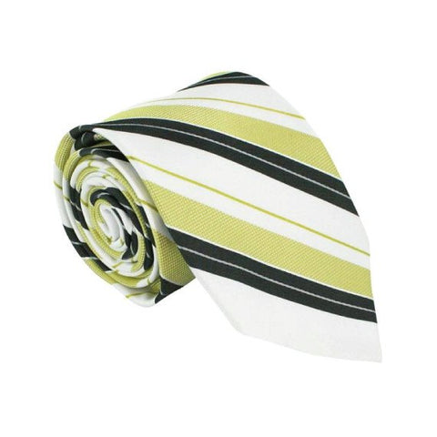 Yellow Polyester Striped Tie