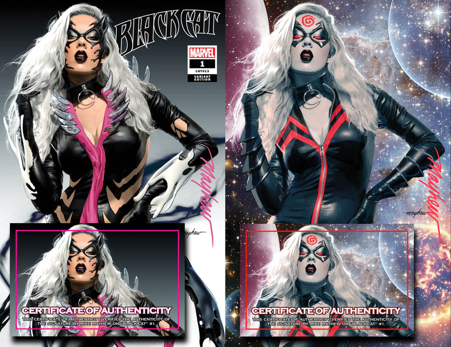 BLACK CAT #1 KIB Mike Mayhew Studio Variant Cover Trade Dress and Virgin Set Signed with COA