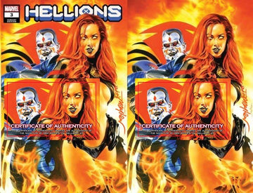 HELLIONS #2 and HELLIONS #3  Variant Cover Trade Dress and Virgin Signed with COA