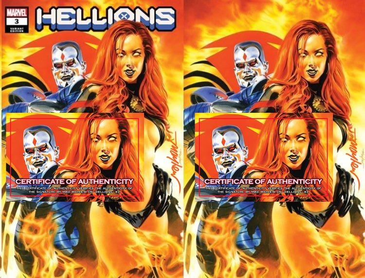 HELLIONS #1, #2, and #3  Variant Cover Trade Dress and Virgin Signed with COA Bundle