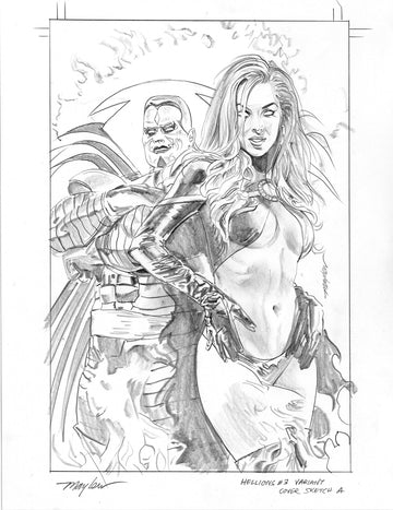 Mike Mayhew Original HELLIONS #2 Comics Elite Variant Cover Sketch A
