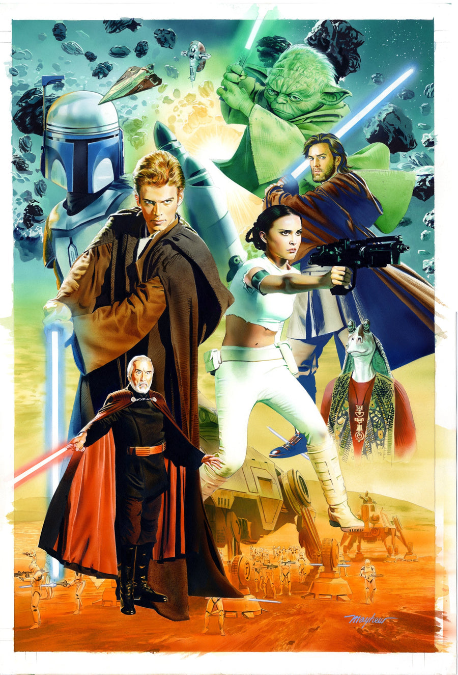 Mike Mayhew Original STAR WARS: ATTACK OF THE CLONES Hardcover Cover Painting